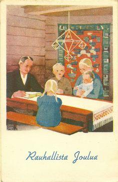 """Rauhallista Joulua - Finnish postcard """"Merry Christmas"""" ca 1945"""