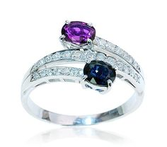 Ring Diamond Sapphire Ruby   Diamantring mit oval facettiertem Saphir und Rubin, 0,310ct Diamanten