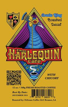 Harlequin Café Espresso Coffee- DECAF GROUND- Fresh French and Medium Roast GROUND- Gourmet Espresso Whole Coffee Bean- Fair Trade and Organic Robusta Arabica Blend Coffee- 12oz (Creole King - Roast DECAF ** You can get additional details, click the image : Fresh Groceries