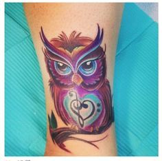 teal and purple owl tattoo - Google Search