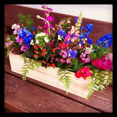 DIY colourful flowers in wine box