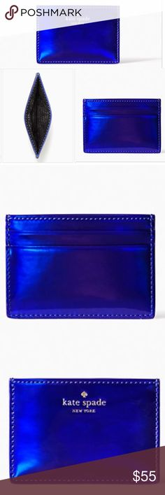 """Kate Spade♠️ Card Holder Wallet Nightlife Blue NIB JUST ARRIVED!   Kate Spade ♠️ Rainer Lane iridescent Card Holder Wallet  Color: Metallic Blue CONDITION: New - comes in KSNY Metallic Box Credit and ID card holder 💳 / quick & curious lining / 2.7"""" x 3.9"""" x 0"""" depth  / 14k gold plated hardware / PVC with matching trim  ❌Trades❌ ⚡️We ship lightening fast⚡️ 🎀Discounts with bundles 🎀 kate spade Bags Wallets"""