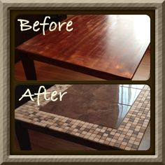 Does your table need a makeover?  Resurface it with tiles to match your decor