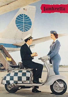 Lambretta on the tarmac with Pan Am. This is a very neat ad.