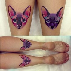 Baeutiful colorfull cat tattoos