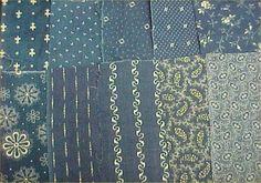 Antique Vintage Cotton Quilt Fabric Scraps Blue Indigo
