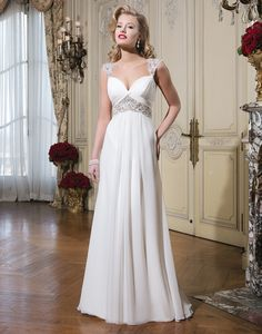 Justin Alexander wedding dresses style 8775 Chiffon A-line dress emphasized by a sweetheart neckline.