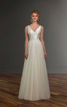 Chase + Sawyer Modest Wedding Dress with Tulle Skirt by Martina Liana