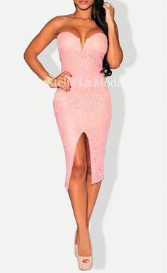Pink Lace Strapless Evening Dress - Stella La Moda