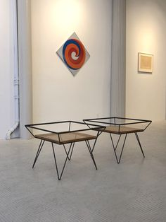 Vintage cane and metal side tables designe dby Martin Eisler. Available at ESPASSO.