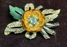 Vintage CORO Enamel & Rhinestone TREMBLER Flower Pin