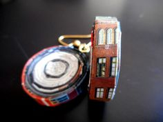 Denmark Architecture & Travel Recycled Magazine Earrings - Upcycled, Repurposed Jewellery by AlchemyForPaper on Etsy