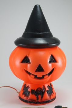 Vintage Halloween Blow Mold Pumpkin Jack O Lantern With Witches Hat and Cat…