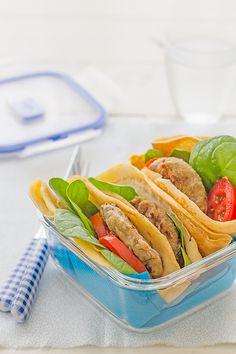 #Receta de hamburguesa de berenjena y crepes salados, ideal para llevar.