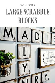 Large wooden scrabble blocks for upper living room wall