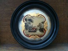Antique English Boat Scene Painting, Reverse Round Glass. $238.04, via Etsy.