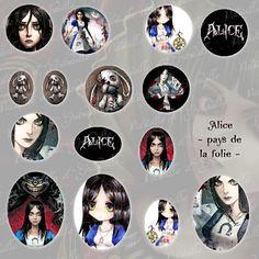 """images digitales pour cabochon thème Alice"""" madness - retour au pays de la folie """" - 12 formats - à imprimer : Images digitales pour bijoux par patouille-et-gribouille"""