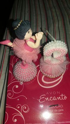 Bailarina com vela 3 anos,feita em biscuit por Lene Barros