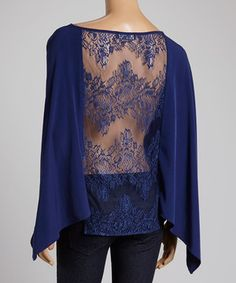 Another great find on #zulily! Joyce Clothing Blue Cape-Sleeve Top by Joyce Clothing #zulilyfinds