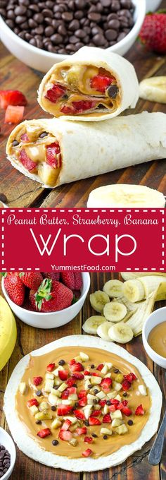 Healthy Peanut Butter, Strawberry, Banana Wrap Recipe A fun breakfast or an after school snack! Delicious, easy and quick! Plats Healthy, Healthy Protein Snacks, Healthy Breakfast Recipes, Healthy Drinks, Healthy Smoothies, Healthy Kid Meals, Smoothie Recipes, Healthy Cooking, Vegetarian Snacks