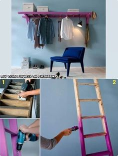 Lader Hanger // Wieszak z drabiny Home Projects, Home Crafts, Diy Home Decor, Diy Crafts, Diy Clothes Hangers, Hanging Clothes, Old Ladder, Wooden Ladder, Wooden Brackets