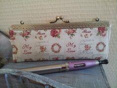 Pochette Ecigarettes vapoteuse - coton vignettes roses intérieur lin : Trousses par dentelles-et-fanfreluche