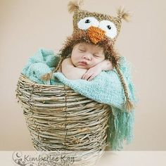 Crochet Infant Owl Hat Photo Prop by Salowicious on Etsy, $20.00