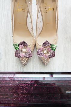Sparkly sheer pointy bridal heels with violet flowers // While 2017's Pantone Colour Of The Year symbolised new beginnings, Ultra Violet looks toward the future. With this in mind, the team behind Formosa Events sought to create a contemporary oriental-inspired table setting for the modern couple. Hand painted details and lush floral arrangements add a feminine touch to this styled shoot, captured by Pepper and Light.