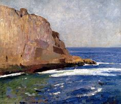 Soren Emil Carlsen  (American Impressionist painter 1853-1932)  Bald Head Cliff, York, Maine, 1910-15  oil on canvas   41 x 36 cm