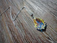 Aurora Borealis Boroque Austrian Crystal Necklace/ Sterlng Silver/AB Crystal