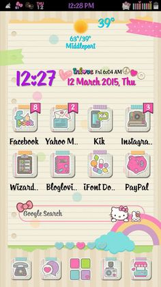 A Lil Android Love : Today's Screen Hello Kitty House, Pink Hello Kitty, Hello Kitty Backgrounds, Hello Kitty Wallpaper, Theme Launcher, Hello Kitty Themes, Android Theme, Cute App, Cute Themes