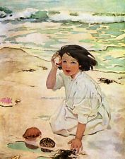 Girl with Seashell at the Beach 8 x 10 Print - Repro Jessie Wilcox Smith