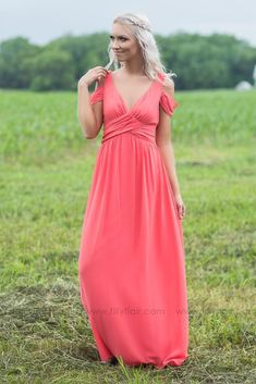 Long Off Shoulder Coral Bridesmaid Dress for Country Wedding