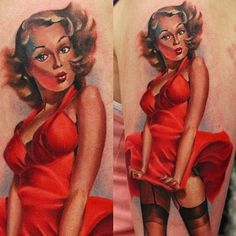 You guys love pinup ? Here's one awesome tattoo by John Andreton. UK Tattoo Scene. #tattoo #tattoos #ink