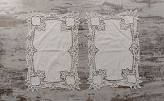 Vintage Embroidered Battenberg White Placemats, Vintage Dining Placemats, Set of 2, 2x29x42cm/2x11.4x16.5in Crochet Table Runner, Crochet Tablecloth, Linen Tablecloth, White Placemats, Hardanger Embroidery, Point Lace, Lace Border, Satin Stitch, Handmade Christmas