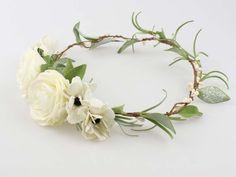 Madame Allure - Ślubny wianek na głowę - ecru i zieleń