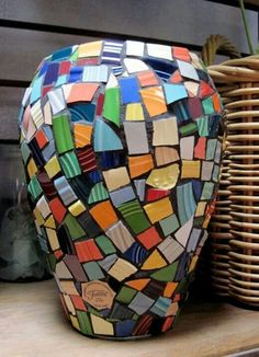 Vase made of broken fiestaware