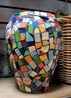 Vase made of broken fiestaware