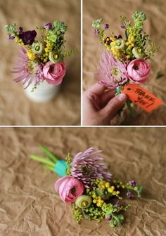 finished-spring-bouquet-project - mini bouquets so pretty