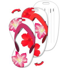 Lenticular Flip Luggage Tag Flip Flop Shape Tropical Hawaiian Flowers LTFF-365 from Lantor Ltd., $3.95: The tag's flip flop shaped face features a flip effect between two different images of beautiful, tropical flowers of red and pink on a white background with a sandal thong that switches from red to pink, so that, every time you look at it, you'll be whisked away to a secluded tropical island.  Click here to purchase…