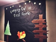 camping bulletin board!! can't wait to add my happy camper tents on the first day of school!  two days until meet the teacher and 5 until the first day!!! Thanks for brainspiration @_swoopintoprimary!! ⛺️