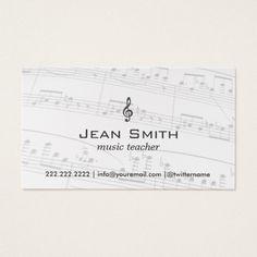 Music Teacher Notes Elegant Business Card Musician Cards