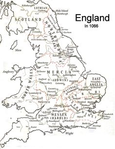 Map of England in 1066 shows the earls as being Harold (king and earl of Wessex), Gyrth, Leofwin, Waltheof, Eadwin and Morkere. This would change drastically after Harold fell Uk History, Asian History, Tudor History, British History, History Facts, History Medieval, Ancient History, History Channel, American History