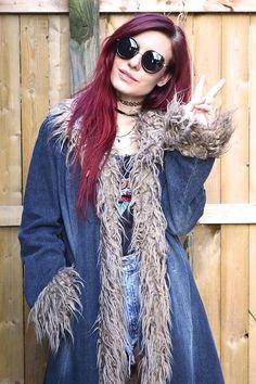 This insane #PennyLane #denim faux fur maxi coat is in the Shop: www.hottrashvtg.com Penny Lane Coat, Maxi Coat, Chia Pudding, Denim Jackets, Pudding Recipes, Plaid Scarf, Behind The Scenes, Faux Fur, Chic