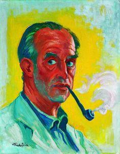 Max Pechstein - Selbstbildnis mit Pfeife, um 1946. Öl auf Leinwand