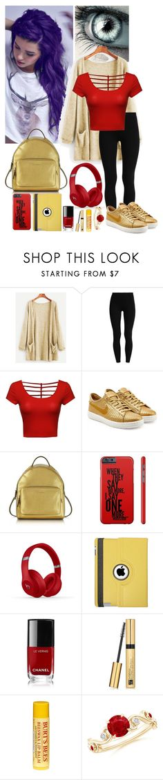 """You decided that purple just wasn't for you"" by frootloop16 ❤ liked on Polyvore featuring NIKE, Coccinelle, Beats by Dr. Dre, Natico, Chanel, Estée Lauder and Burt's Bees"