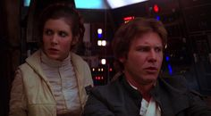 Han and Leia in the Millenium Falcon.