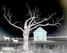 Rural Home Art * Running Deer * Black White * Silhouette *  Blue House * Woodland Animal * Wildlife Wall Decor * Giclee Print  *  8 x 10
