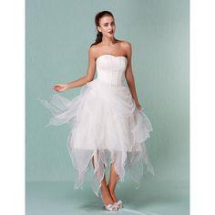 A-line / Ball Gown Strapless Asymmetrical Organza Wedding Dress