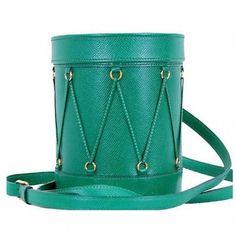 3c039ef9faf7 Vintage Hermes green Courchevel grained drum shape shoulder bag